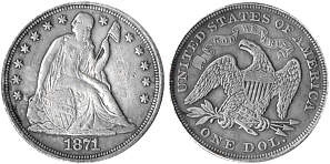 Values of Seated Liberty Dollars of the USA 1840 - 1873