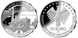 Brd 10 Euro Münze 175 Jahre Deutsche Eisenbahn