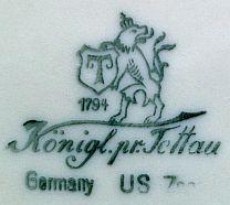 Porzellan von Königlich priv. Porzellanfabrik Tettau